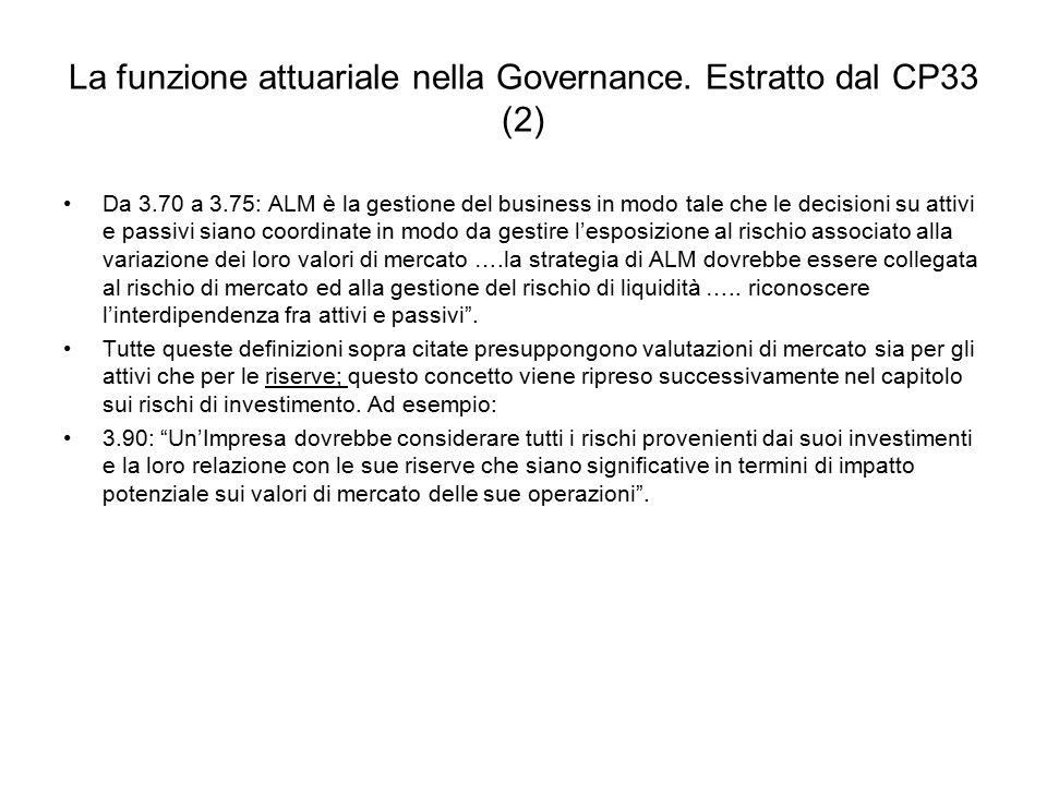 La funzione attuariale nella Governance. Estratto dal CP33 (2) Da 3.70 a 3.75: ALM è la gestione del business in modo tale che le decisioni su attivi