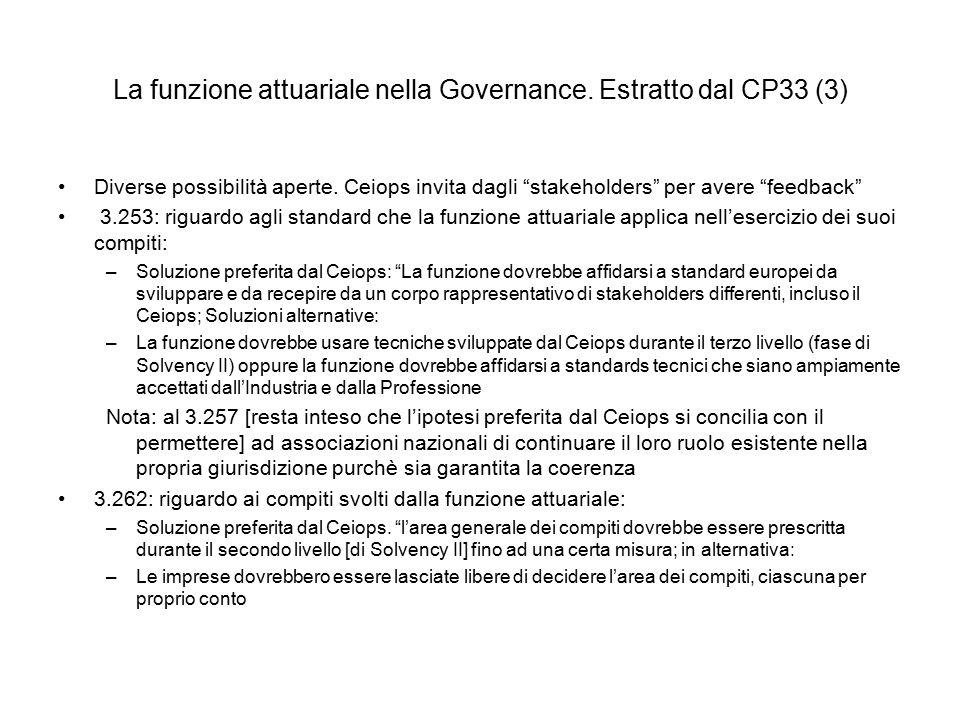 """La funzione attuariale nella Governance. Estratto dal CP33 (3) Diverse possibilità aperte. Ceiops invita dagli """"stakeholders"""" per avere """"feedback"""" 3.2"""
