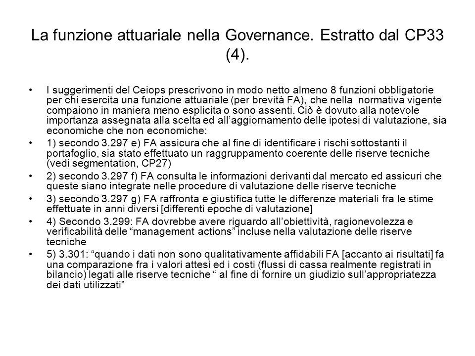 La funzione attuariale nella Governance. Estratto dal CP33 (4). I suggerimenti del Ceiops prescrivono in modo netto almeno 8 funzioni obbligatorie per