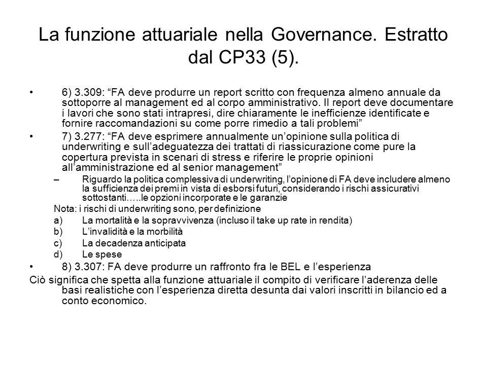 """La funzione attuariale nella Governance. Estratto dal CP33 (5). 6) 3.309: """"FA deve produrre un report scritto con frequenza almeno annuale da sottopor"""