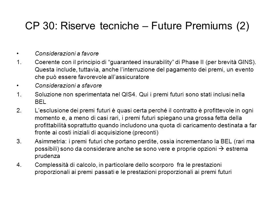 """CP 30: Riserve tecniche – Future Premiums (2) Considerazioni a favore 1.Coerente con il principio di """"guaranteed insurability"""" di Phase II (per brevit"""