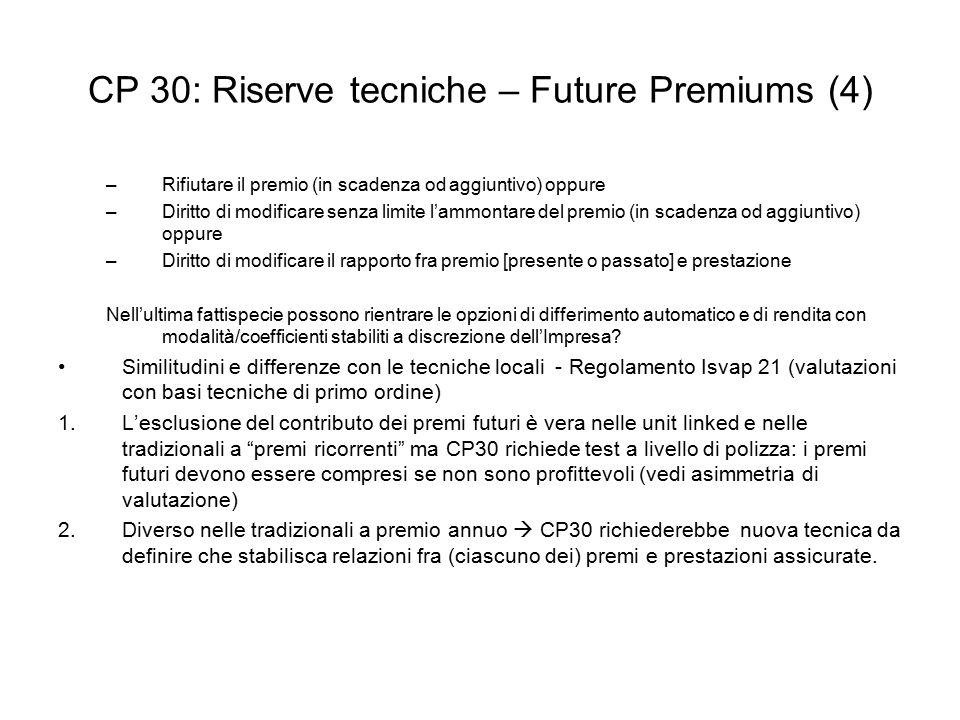 CP 30: Riserve tecniche – Future Premiums (4) –Rifiutare il premio (in scadenza od aggiuntivo) oppure –Diritto di modificare senza limite l'ammontare