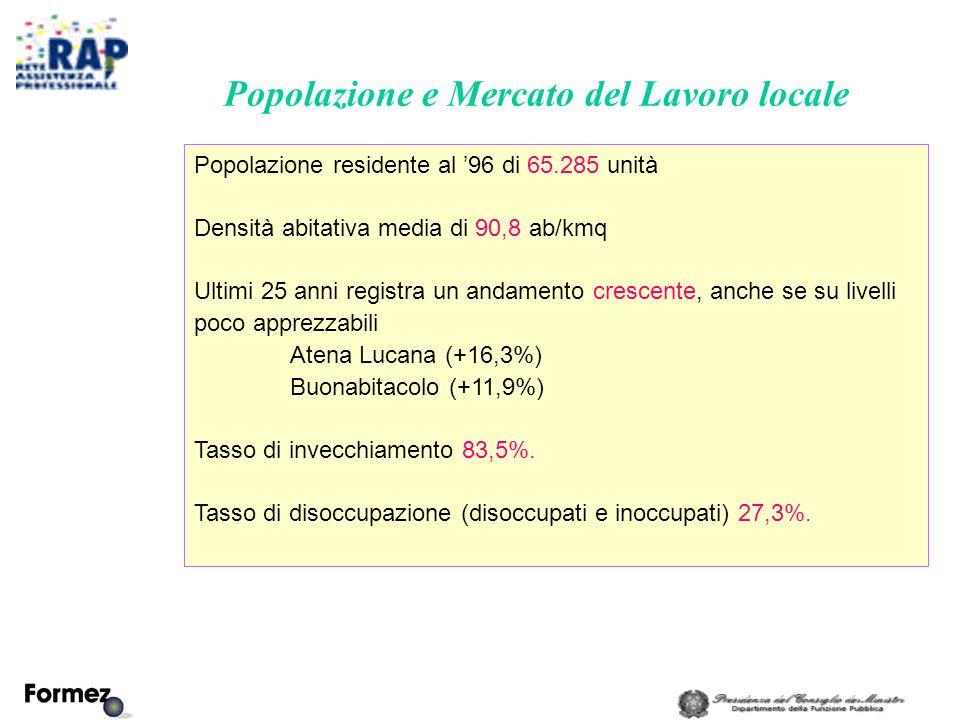 Popolazione e Mercato del Lavoro locale Popolazione residente al '96 di 65.285 unità Densità abitativa media di 90,8 ab/kmq Ultimi 25 anni registra un andamento crescente, anche se su livelli poco apprezzabili Atena Lucana (+16,3%) Buonabitacolo (+11,9%) Tasso di invecchiamento 83,5%.