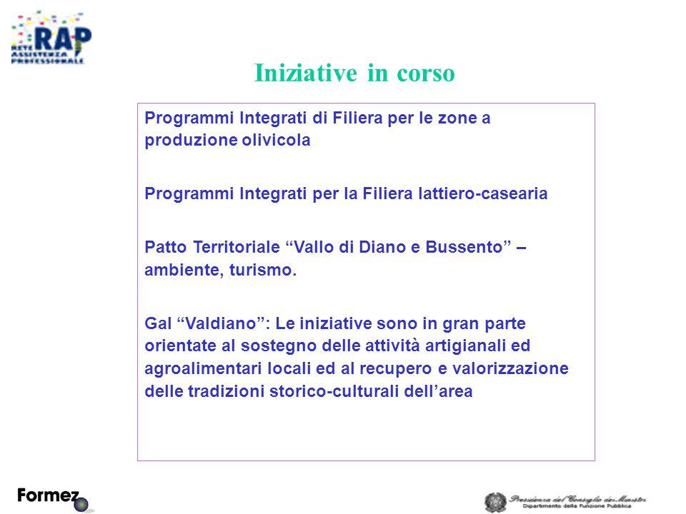 Iniziative in corso Programmi Integrati di Filiera per le zone a produzione olivicola Programmi Integrati per la Filiera lattiero-casearia Patto Territoriale Vallo di Diano e Bussento – ambiente, turismo.