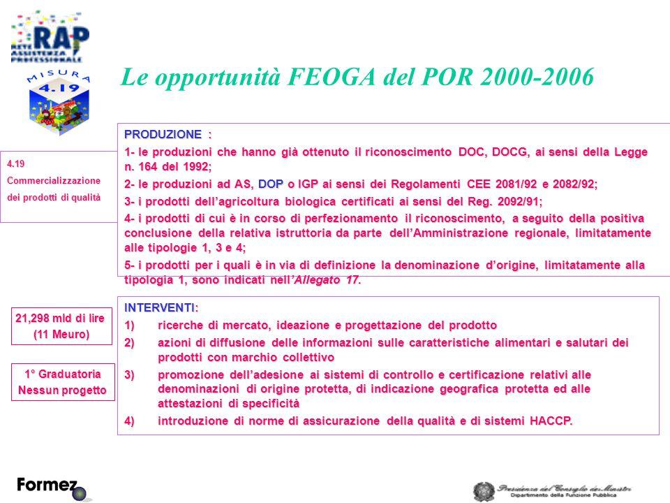 Le opportunità FEOGA del POR 2000-2006 PRODUZIONE : 1- le produzioni che hanno già ottenuto il riconoscimento DOC, DOCG, ai sensi della Legge n.