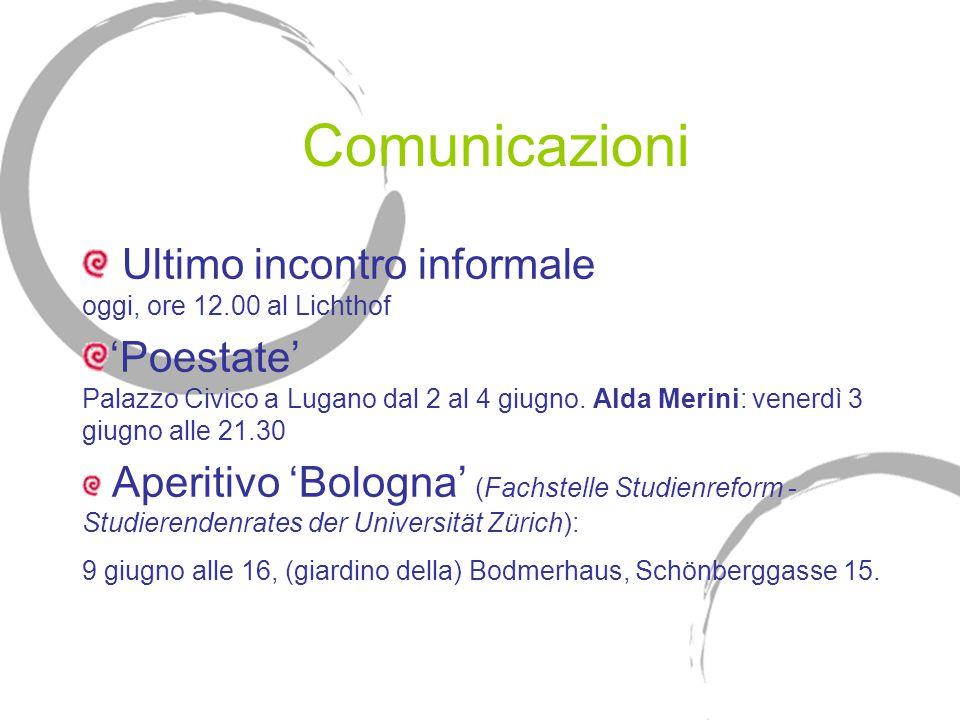 Comunicazioni Ultimo incontro informale oggi, ore 12.00 al Lichthof 'Poestate' Palazzo Civico a Lugano dal 2 al 4 giugno.