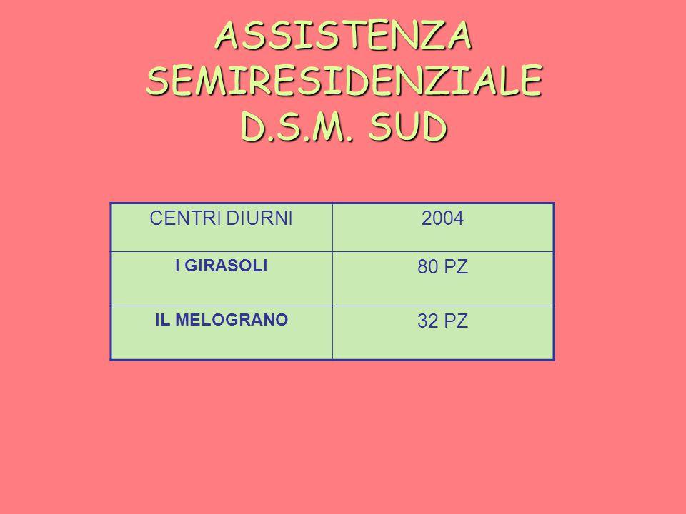 ASSISTENZA SEMIRESIDENZIALE D.S.M. SUD CENTRI DIURNI2004 I GIRASOLI 80 PZ IL MELOGRANO 32 PZ