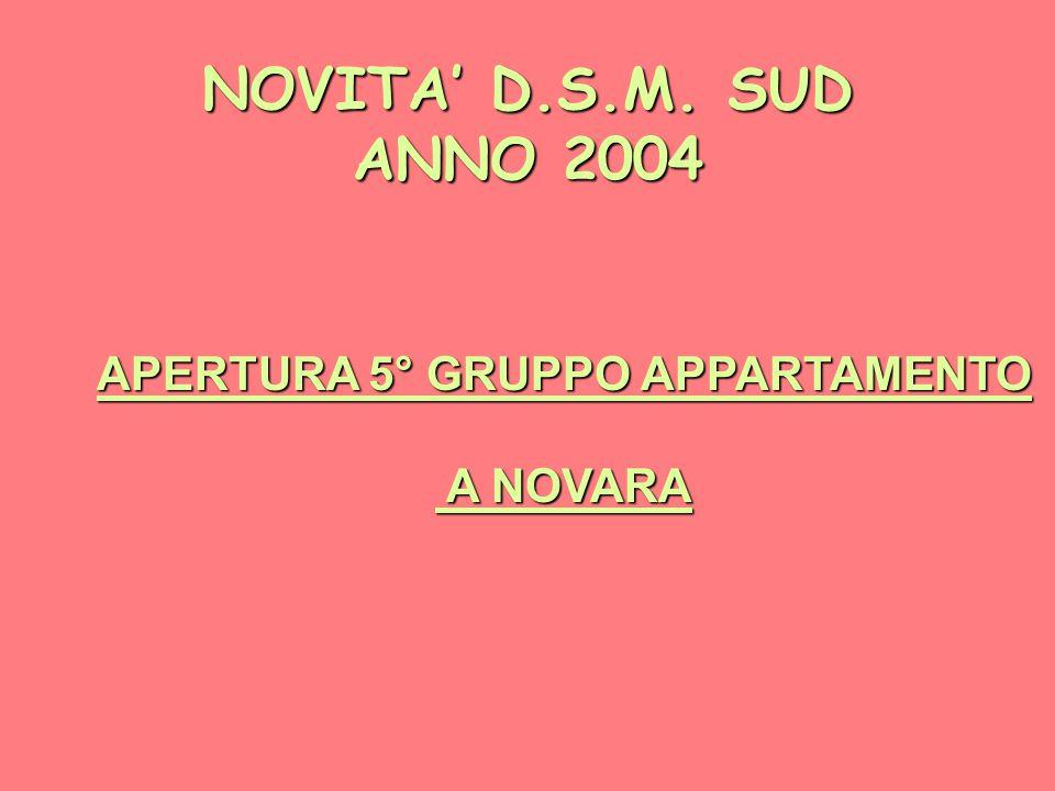 NOVITA' D.S.M. SUD ANNO 2004 APERTURA 5° GRUPPO APPARTAMENTO A NOVARA A NOVARA