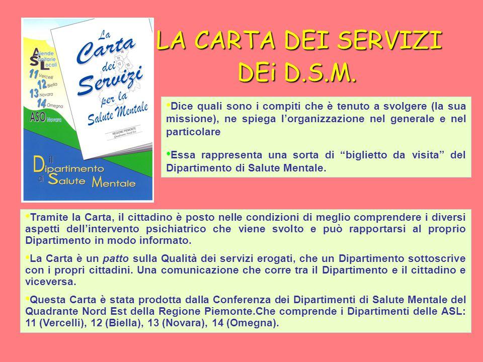 LA CARTA DEI SERVIZI DEi D.S.M. LA CARTA DEI SERVIZI DEi D.S.M.