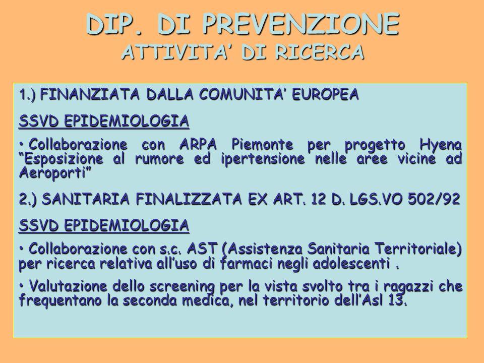 DIP. DI PREVENZIONE ATTIVITA' DI RICERCA 1.) FINANZIATA DALLA COMUNITA' EUROPEA SSVD EPIDEMIOLOGIA Collaborazione con ARPA Piemonte per progetto Hyena