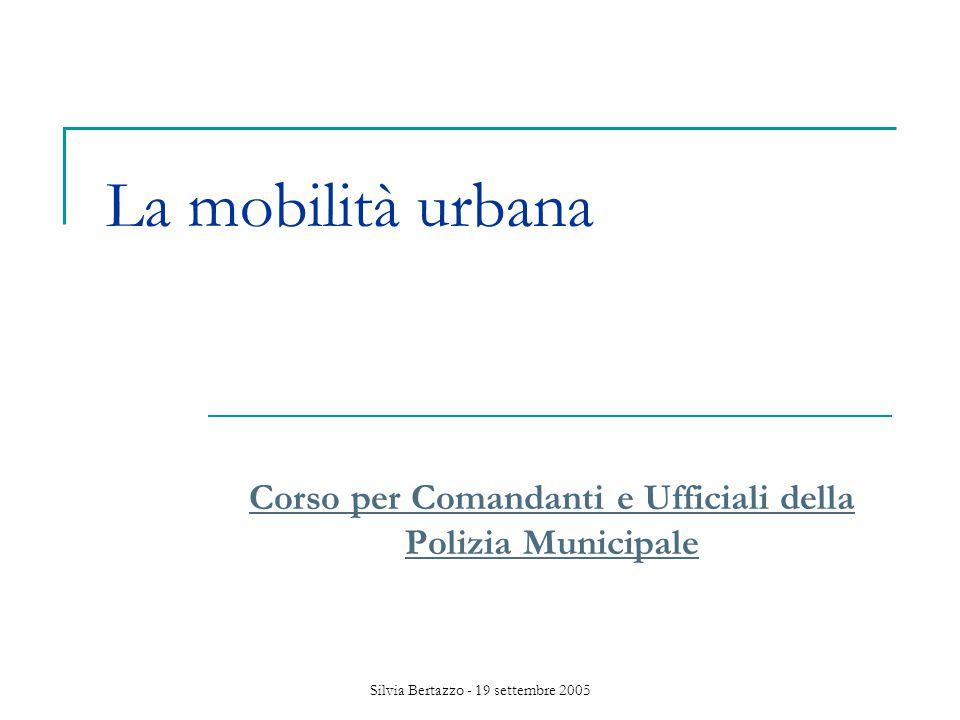 Silvia Bertazzo - 19 settembre 2005 Mobilità urbana Fenomeno complesso Misure differenziate (divieti, controlli, politiche di incentivazione e disincentivazione) Impatto sulla comunità Emergenza nazionale (Corte cost.