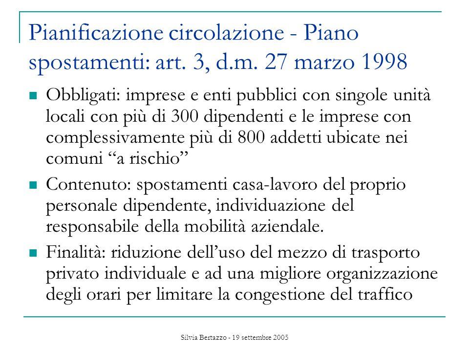 Silvia Bertazzo - 19 settembre 2005 Pianificazione circolazione - Piano spostamenti: art.