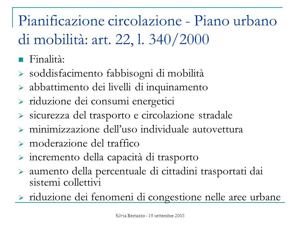 Silvia Bertazzo - 19 settembre 2005 Pianificazione circolazione - Piano urbano di mobilità: art.