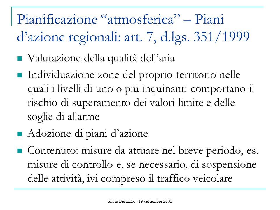 Silvia Bertazzo - 19 settembre 2005 Pianificazione atmosferica – Piani d'azione regionali: art.