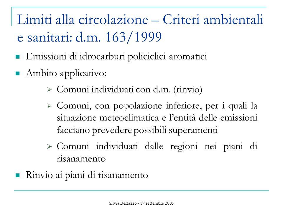 Silvia Bertazzo - 19 settembre 2005 Limiti alla circolazione – Criteri ambientali e sanitari: d.m.