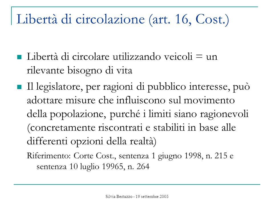 Silvia Bertazzo - 19 settembre 2005 Libertà di circolazione (art.