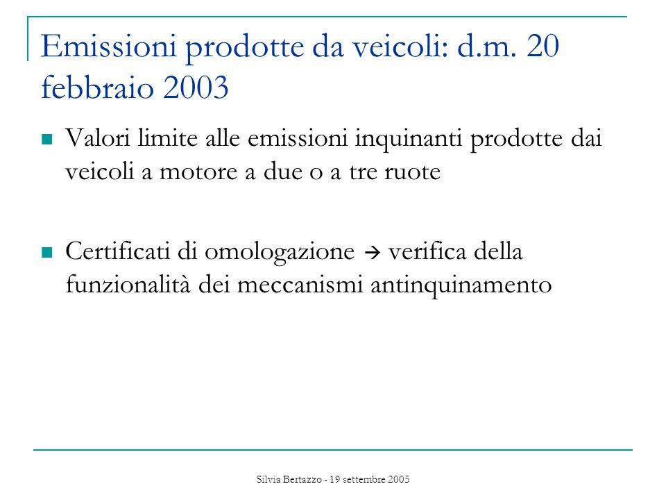 Silvia Bertazzo - 19 settembre 2005 Emissioni prodotte da veicoli: d.m.