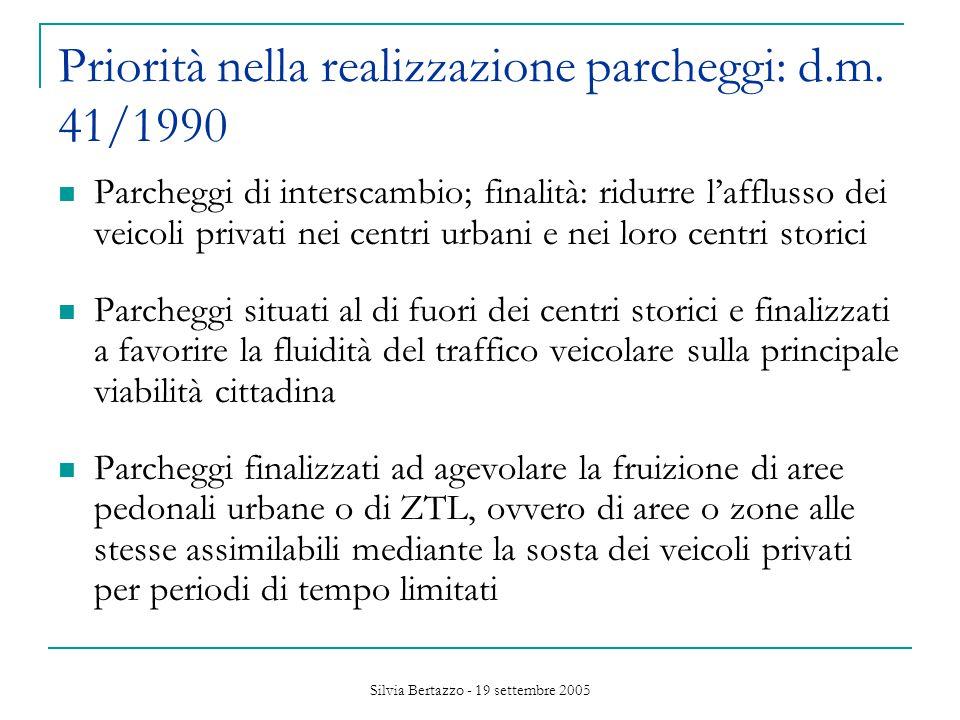 Silvia Bertazzo - 19 settembre 2005 Priorità nella realizzazione parcheggi: d.m.