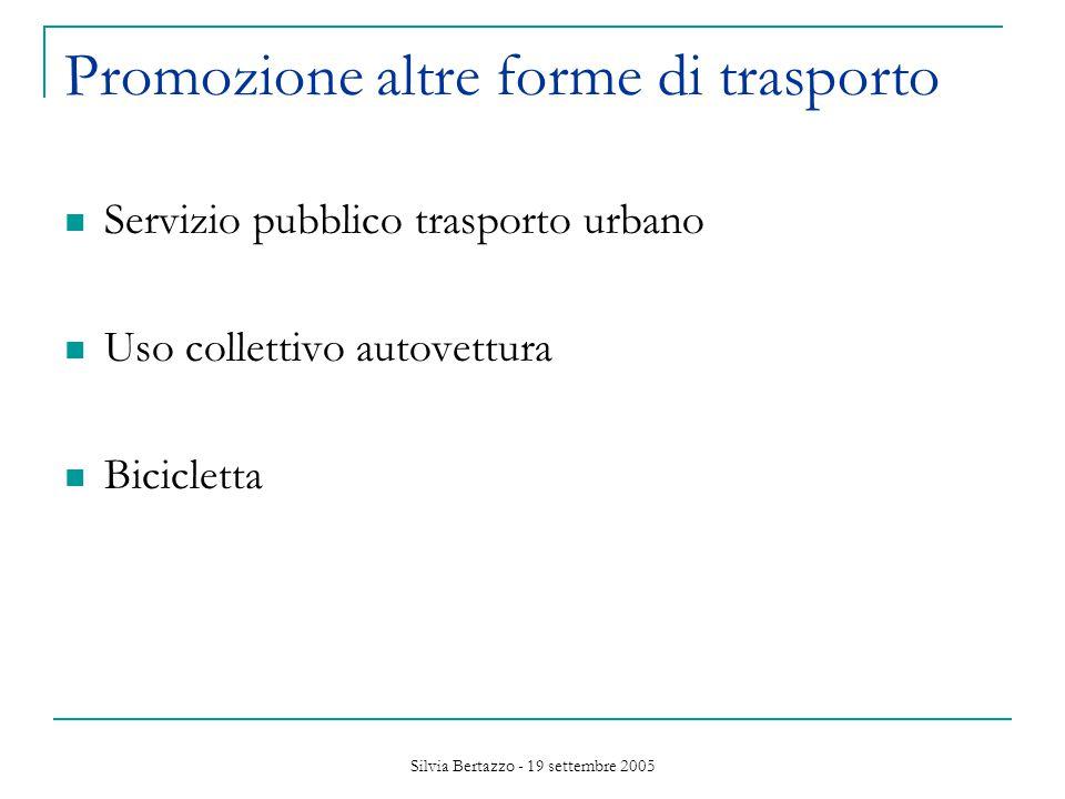 Silvia Bertazzo - 19 settembre 2005 Promozione altre forme di trasporto Servizio pubblico trasporto urbano Uso collettivo autovettura Bicicletta