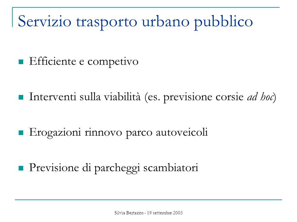 Silvia Bertazzo - 19 settembre 2005 Servizio trasporto urbano pubblico Efficiente e competivo Interventi sulla viabilità (es.