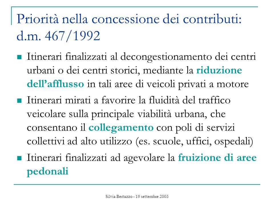 Silvia Bertazzo - 19 settembre 2005 Priorità nella concessione dei contributi: d.m.