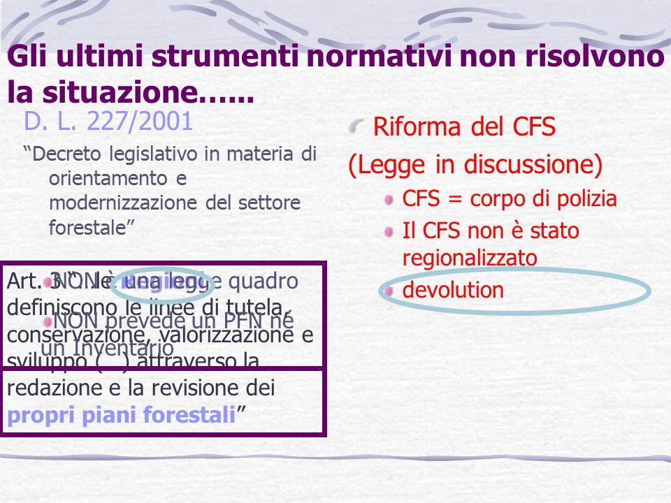 Gli ultimi strumenti normativi non risolvono la situazione…...