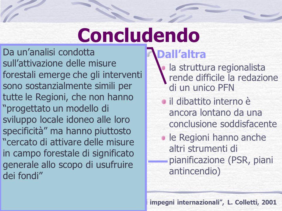Concludendo Da una parte l'Italia deve attenersi agli obblighi presi a livello internazionale (UE, MCPFE) L'assenza di un PFN potrebbe addirittura mettere a rischio i fondi che il Regolamento per sostegno allo sviluppo rurale destina al settore forestale * Dall'altra la struttura regionalista rende difficile la redazione di un unico PFN *Fonte: I programmi forestali nazionali e gli impegni internazionali , L.