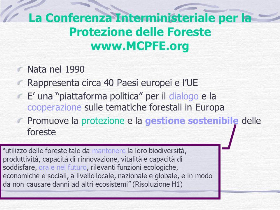 La Conferenza Interministeriale per la Protezione delle Foreste www.MCPFE.org Nata nel 1990 Rappresenta circa 40 Paesi europei e l'UE E' una piattaforma politica per il dialogo e la cooperazione sulle tematiche forestali in Europa Promuove la protezione e la gestione sostenibile delle foreste utilizzo delle foreste tale da mantenere la loro biodiversità, produttività, capacità di rinnovazione, vitalità e capacità di soddisfare, ora e nel futuro, rilevanti funzioni ecologiche, economiche e sociali, a livello locale, nazionale e globale, e in modo da non causare danni ad altri ecosistemi (Risoluzione H1)