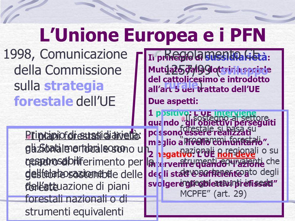 Il dibattito sui PFN Nazioni Unite 1995/1997: Intergovernmental Panel on Forests 1997/2000: Intergovernmental Forum on Forests 2000/2005: United Nations Forum on Forests 1999/2003: COST E19 Action : National Forest Programmes in a European Context FAO, Principi base e linee guida operative per la formulazione e revisione dei PFN , 1996 Programma di azione G8 sulle foreste (1998) EFI (Eropean Forest Institute): forum