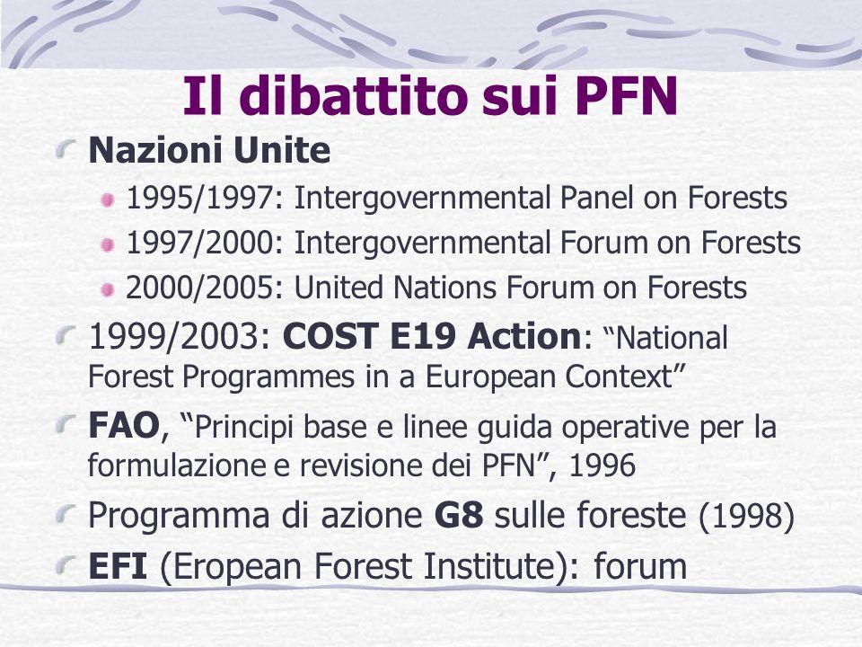 Che cos'è un PFN secondo l'MCPFE E' un Processo di pianificazione, implementazione, monitoraggio e valutazione olistico, intersettoriale e iterativo, su scala nazionale e/o regionale Obiettivo: gestione forestale sostenibile Principi chiave partecipazione approccio olistico e intersettoriale processo iterativo con obiettivi a lungo termine basato sulla sovranità nazionale ma coerente con gli impegni internazionali Fonte: MCPFE Approach to National Forest Programmes in Europe , ottobre 2002, Vienna, Austria La GFS dovrebbe essere il risultato della coordinazione di politiche forestali, economiche, sociali e ambientali I PFN permettono un approccio intersettoriale e la coordinazione delle politiche tramite la partecipazione e la partnership EFI, Convegno Cross-sectoral policy impacts on forests, Savonlinna, Finlandia, 3-6 Aprile 2002