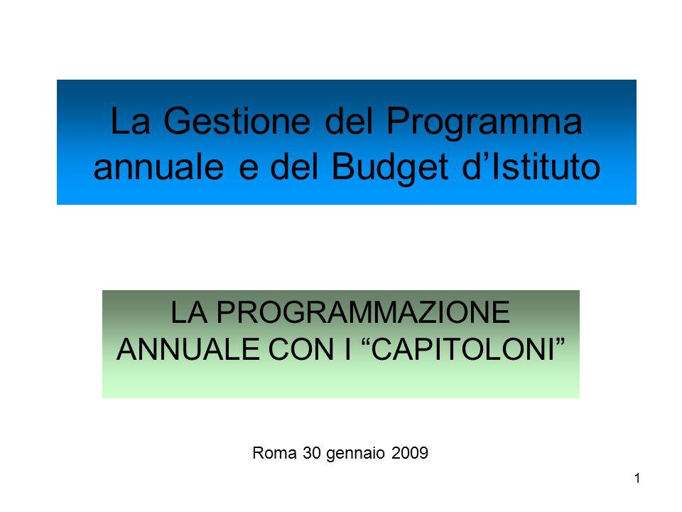 1 La Gestione del Programma annuale e del Budget d'Istituto LA PROGRAMMAZIONE ANNUALE CON I CAPITOLONI Roma 30 gennaio 2009