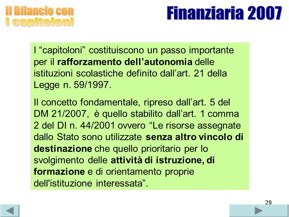 29 I capitoloni costituiscono un passo importante per il rafforzamento dell'autonomia delle istituzioni scolastiche definito dall'art.