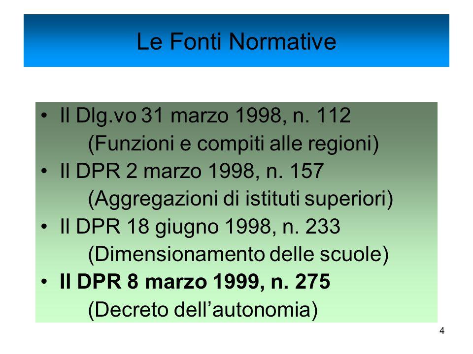 4 Il Dlg.vo 31 marzo 1998, n. 112 (Funzioni e compiti alle regioni) Il DPR 2 marzo 1998, n. 157 (Aggregazioni di istituti superiori) Il DPR 18 giugno