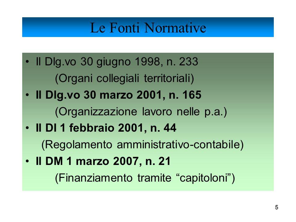 5 Il Dlg.vo 30 giugno 1998, n. 233 (Organi collegiali territoriali) Il Dlg.vo 30 marzo 2001, n. 165 (Organizzazione lavoro nelle p.a.) Il DI 1 febbrai