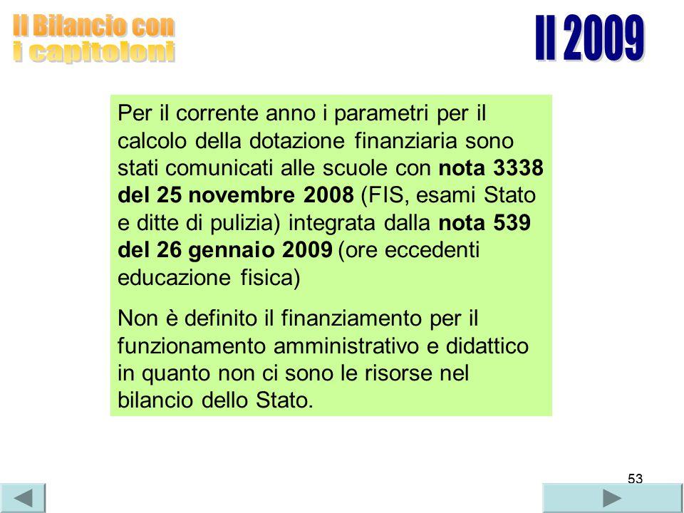 53 Per il corrente anno i parametri per il calcolo della dotazione finanziaria sono stati comunicati alle scuole con nota 3338 del 25 novembre 2008 (F