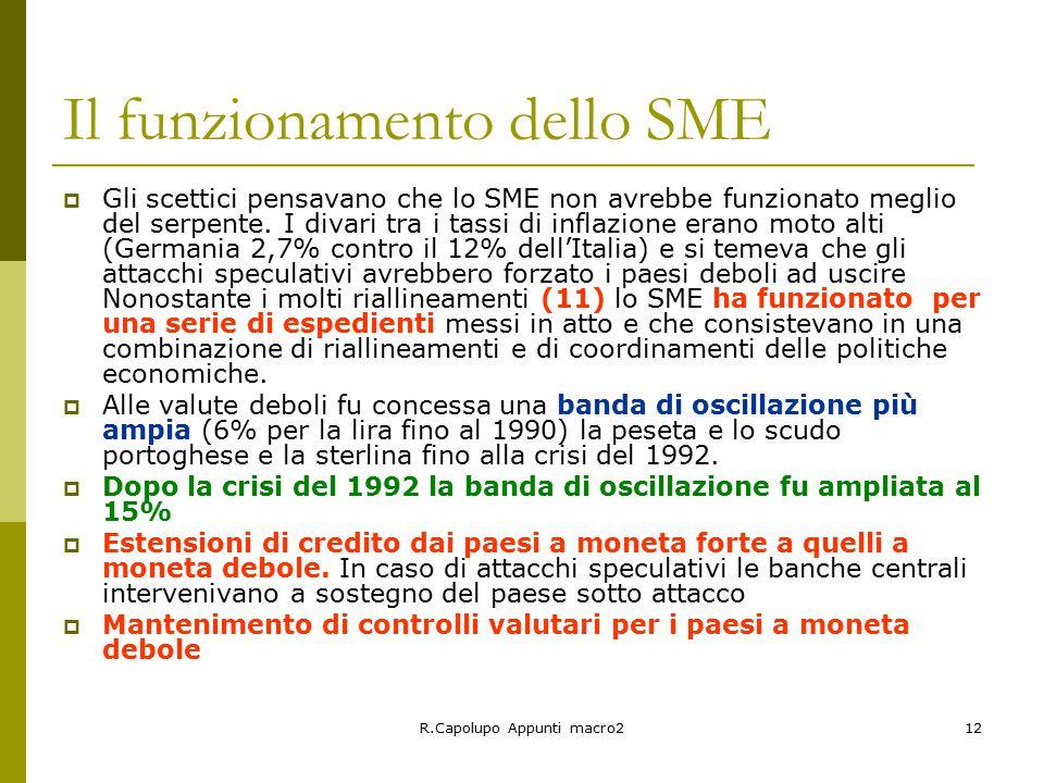 R.Capolupo Appunti macro212 Il funzionamento dello SME  Gli scettici pensavano che lo SME non avrebbe funzionato meglio del serpente.