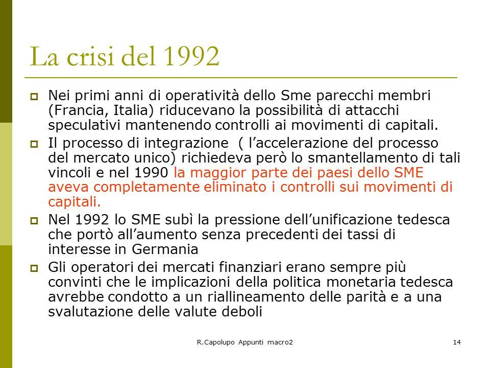 R.Capolupo Appunti macro214 La crisi del 1992  Nei primi anni di operatività dello Sme parecchi membri (Francia, Italia) riducevano la possibilità di attacchi speculativi mantenendo controlli ai movimenti di capitali.