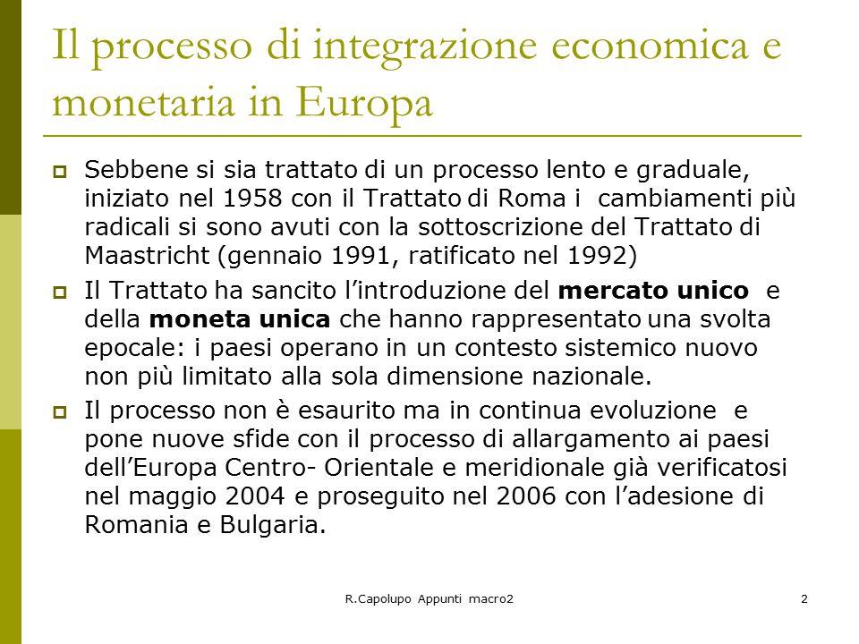 R.Capolupo Appunti macro22 Il processo di integrazione economica e monetaria in Europa  Sebbene si sia trattato di un processo lento e graduale, iniziato nel 1958 con il Trattato di Roma i cambiamenti più radicali si sono avuti con la sottoscrizione del Trattato di Maastricht (gennaio 1991, ratificato nel 1992)  Il Trattato ha sancito l'introduzione del mercato unico e della moneta unica che hanno rappresentato una svolta epocale: i paesi operano in un contesto sistemico nuovo non più limitato alla sola dimensione nazionale.