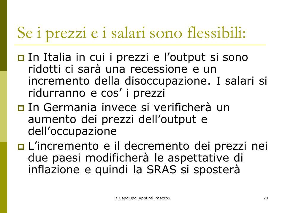 R.Capolupo Appunti macro220 Se i prezzi e i salari sono flessibili:  In Italia in cui i prezzi e l'output si sono ridotti ci sarà una recessione e un incremento della disoccupazione.