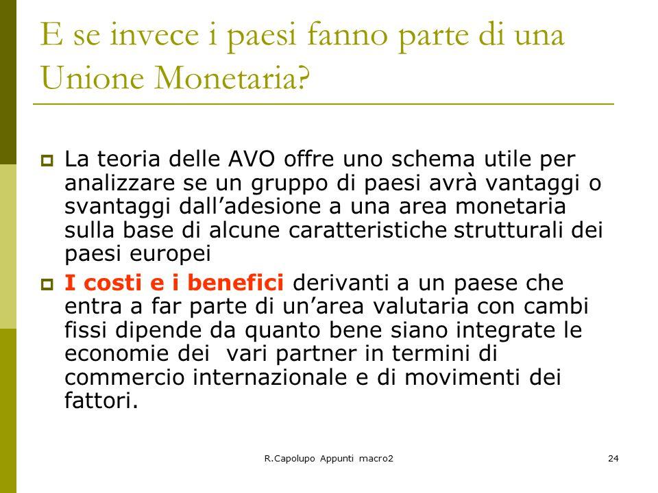 R.Capolupo Appunti macro224 E se invece i paesi fanno parte di una Unione Monetaria.