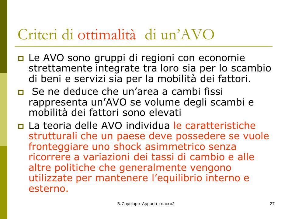 R.Capolupo Appunti macro227 Criteri di ottimalità di un'AVO  Le AVO sono gruppi di regioni con economie strettamente integrate tra loro sia per lo scambio di beni e servizi sia per la mobilità dei fattori.