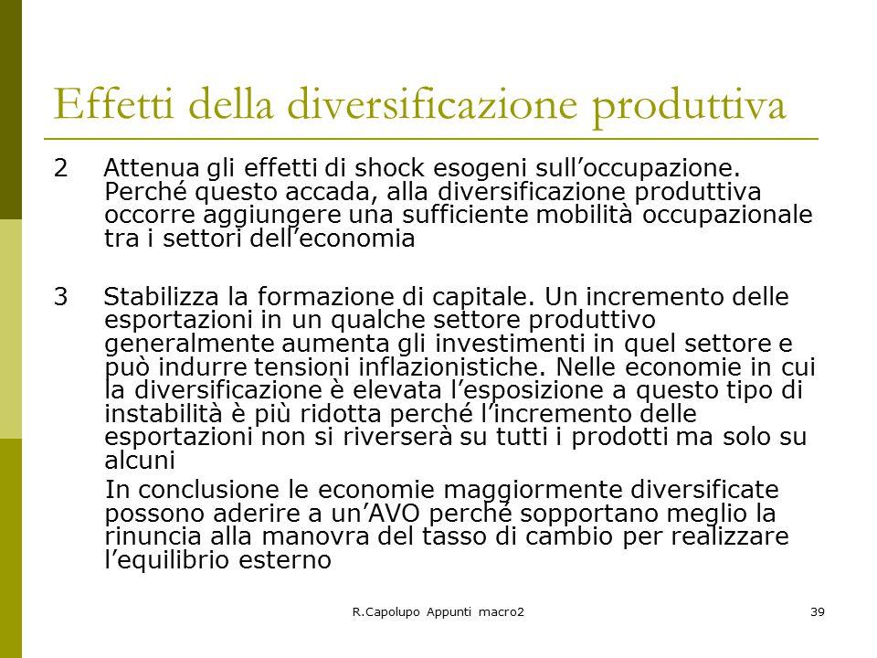 R.Capolupo Appunti macro239 Effetti della diversificazione produttiva 2 Attenua gli effetti di shock esogeni sull'occupazione.