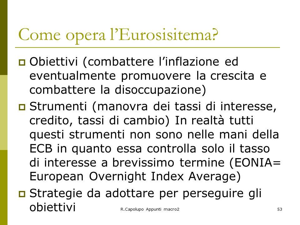 R.Capolupo Appunti macro253 Come opera l'Eurosisitema.