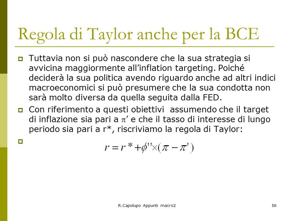 R.Capolupo Appunti macro256 Regola di Taylor anche per la BCE  Tuttavia non si può nascondere che la sua strategia si avvicina maggiormente all'inflation targeting.