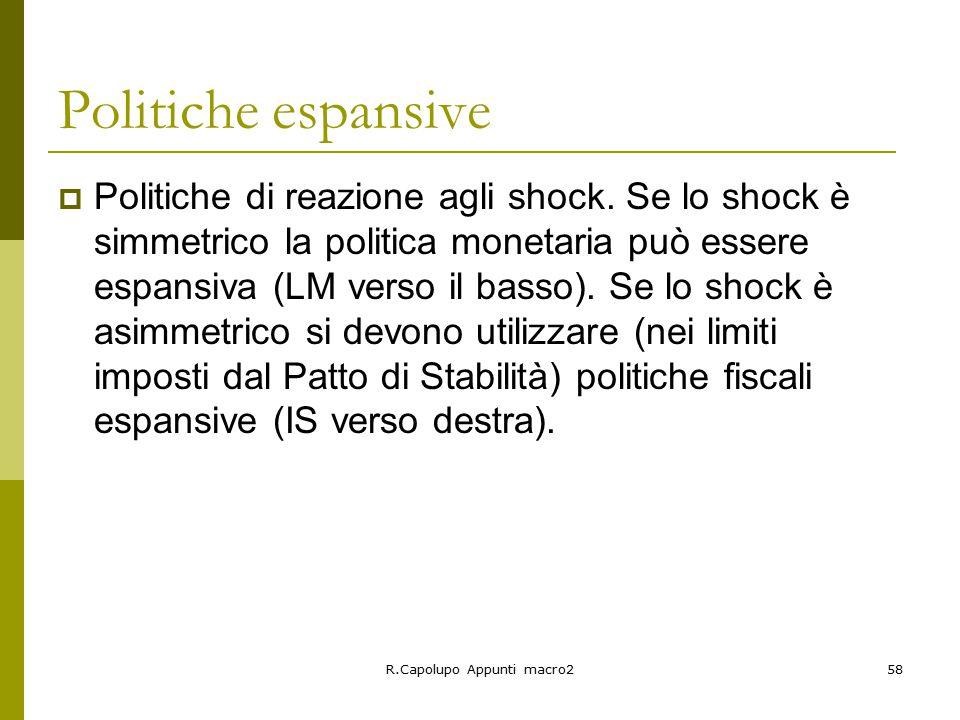 R.Capolupo Appunti macro258 Politiche espansive  Politiche di reazione agli shock.