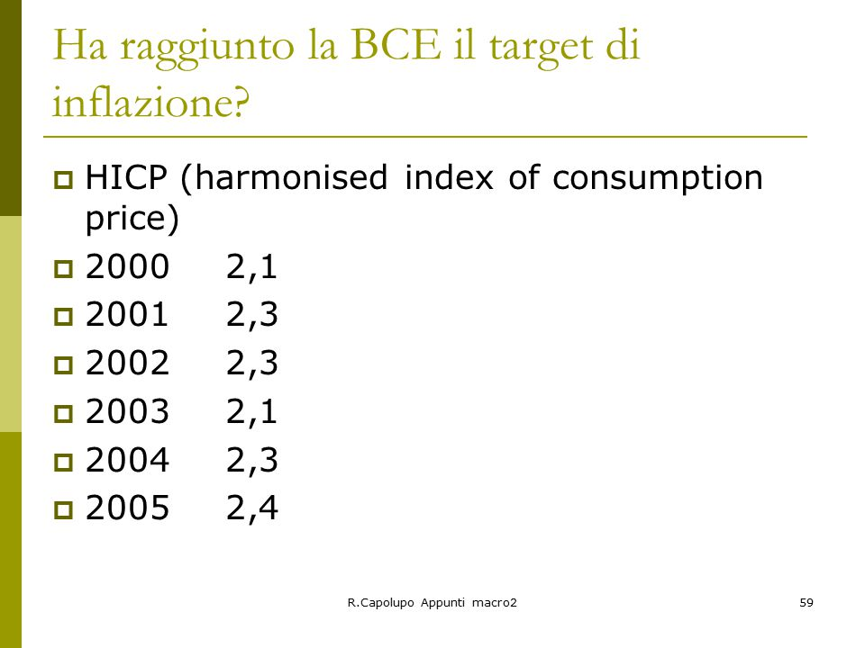R.Capolupo Appunti macro259 Ha raggiunto la BCE il target di inflazione?  HICP (harmonised index of consumption price)  20002,1  20012,3  20022,3