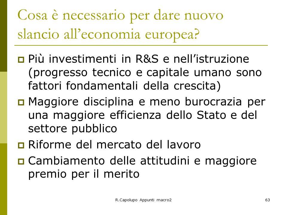 R.Capolupo Appunti macro263 Cosa è necessario per dare nuovo slancio all'economia europea.