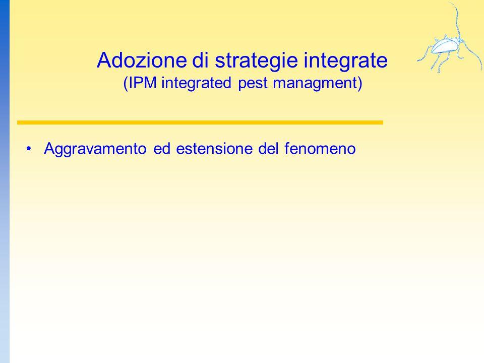 Adozione di strategie integrate (IPM integrated pest managment) Aggravamento ed estensione del fenomeno