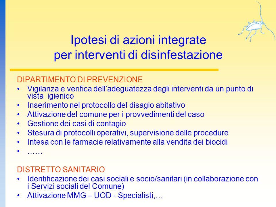 Ipotesi di azioni integrate per interventi di disinfestazione DIPARTIMENTO DI PREVENZIONE Vigilanza e verifica dell'adeguatezza degli interventi da un