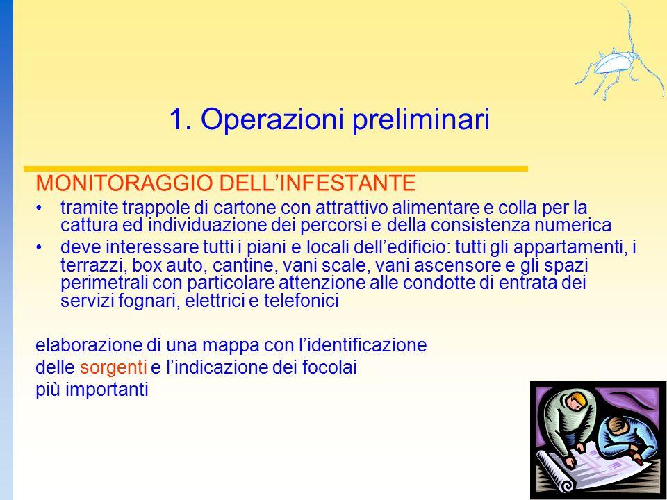 1. Operazioni preliminari MONITORAGGIO DELL'INFESTANTE tramite trappole di cartone con attrattivo alimentare e colla per la cattura ed individuazione